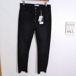 Zara High rise exposed Button fly raw hem Skinny